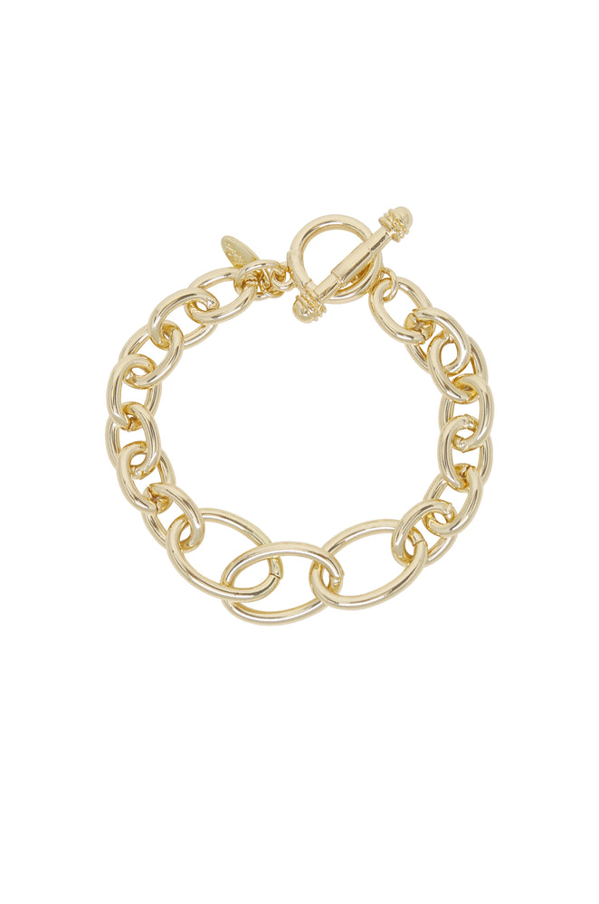Simple Chain Link 18k Gold Plated Bracelet with Toggle
