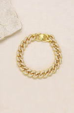 Embellished Pave Chain 18k Gold Plated Bracelet