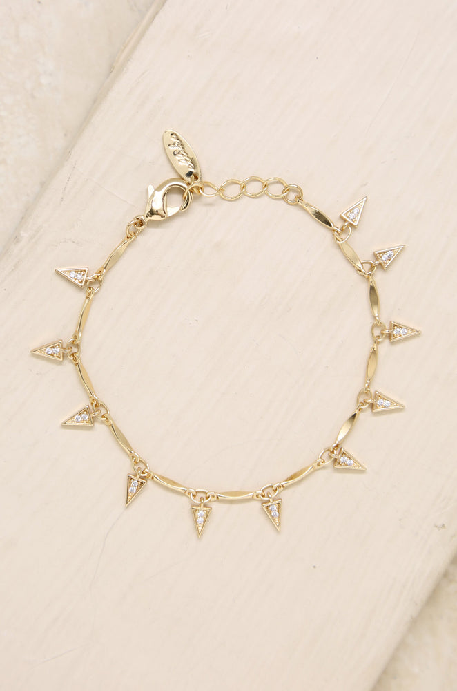 Dangerous Game Crystal Dagger 18k Gold Plated Bracelet