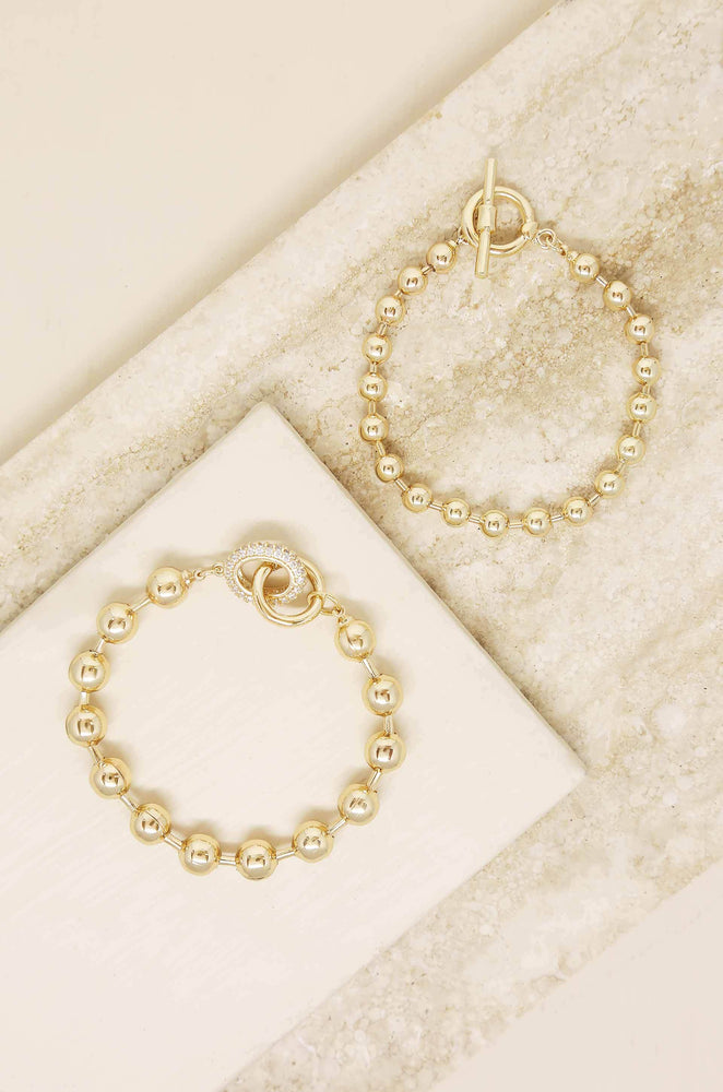 Ball Chain 18k Gold Plated Bracelet Set
