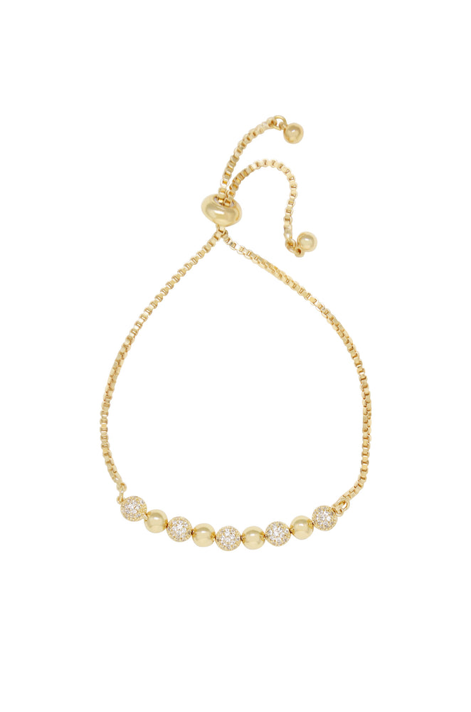 Simple Additions Crystal and 18k Gold Plated Adjustable Bracelet