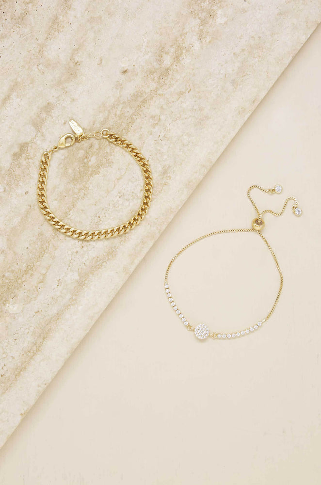Add Some Crystal 18k Gold Plated Bracelet Set