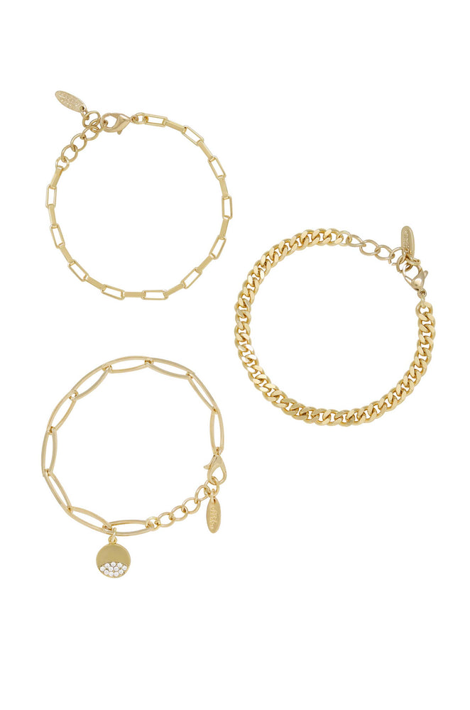 The Power of Three 18k Gold Plated Bracelet Set on white background