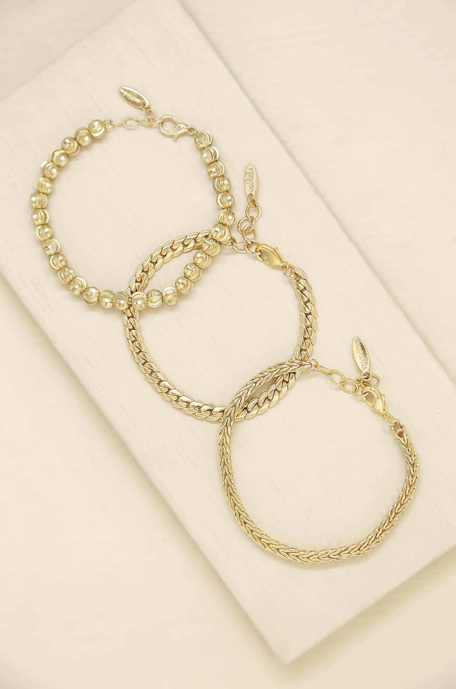 Classical 18k Gold Plated Trio Bracelet Set