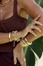 Classical 18k Gold Plated Trio Bracelet Set shown on a model