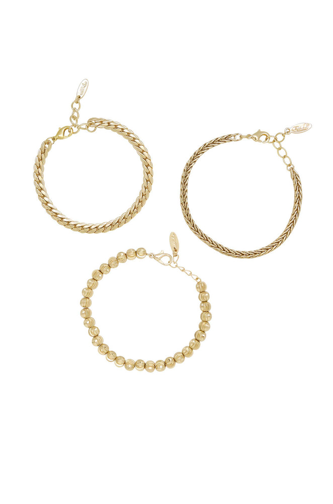 Classical 18k Gold Plated Trio Bracelet Set on white background