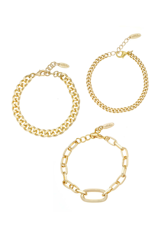 Chain Game 18k Gold Plated Bracelet Set of 3