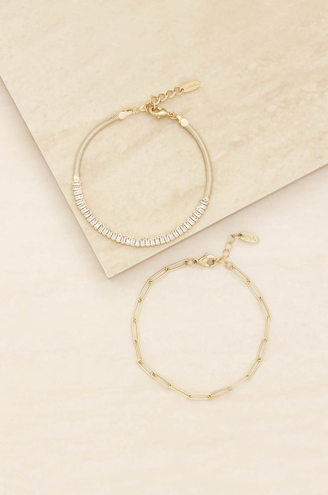 Links and Shine 18k Gold Plated Bracelet Set of 2