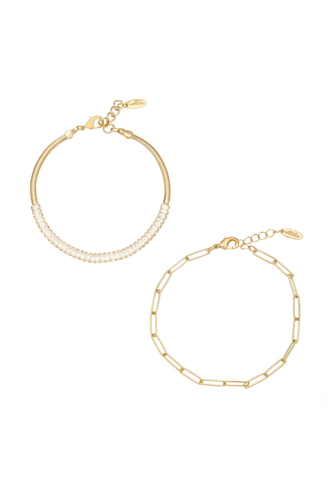 Links and Shine 18k Gold Plated Bracelet Set of 2 on white background