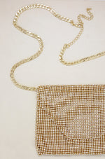 Gold Shimmer Night Out Fanny Pack with Gold Chain Strap