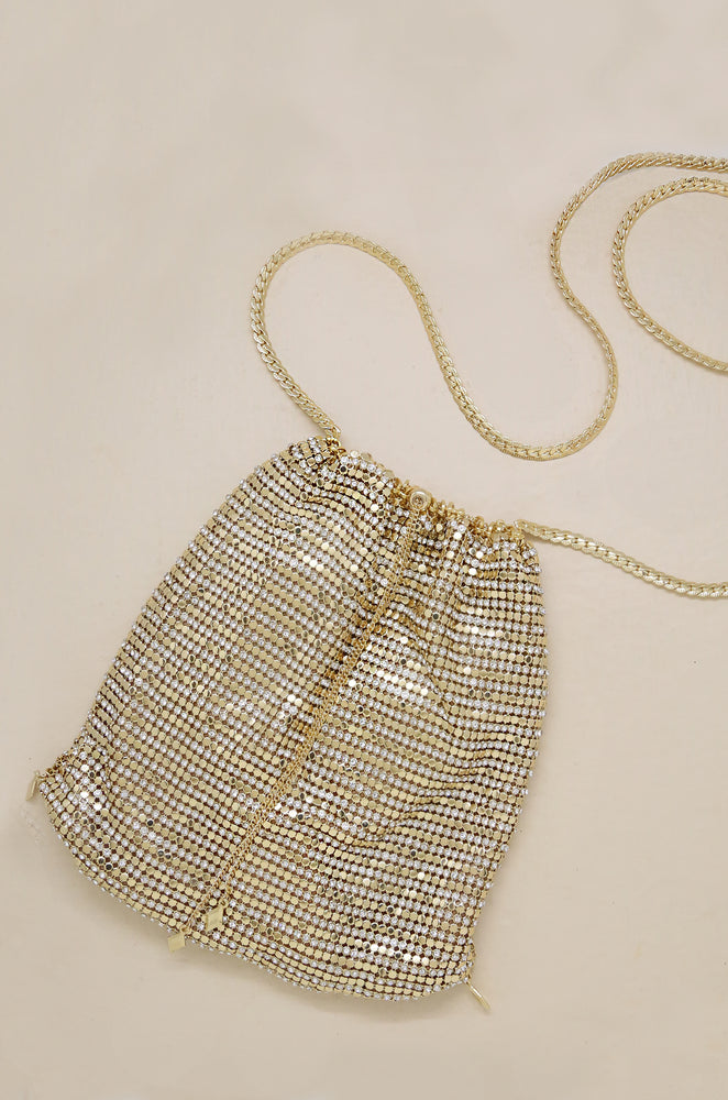 Gold Shimmer Pouch with Gold Shoulder Chain