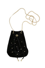 Black Velvet Compact Bucket Bag with Gold Chain