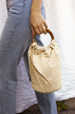 Beige Bucket Bag with Starfish & Shell Tassel