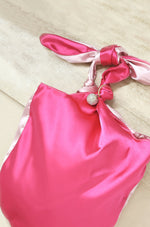 Bow Clutch Bag in Light Pink and Magenta