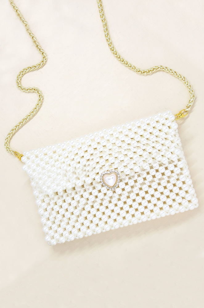 Pearl Waist Bag with Heart Closure