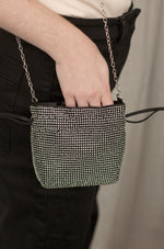 Rhinestone Mini Bag in Black & Silver