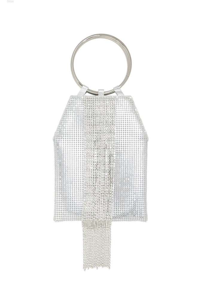 Silver Mesh Handle Bag on white background