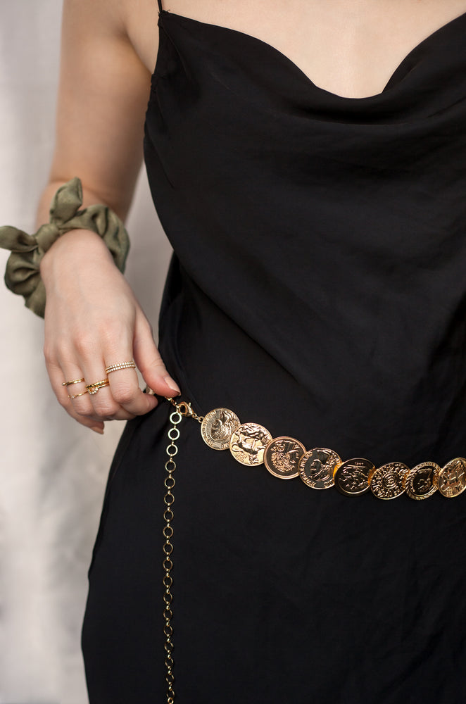 Roman Coin Statement Belt in Gold