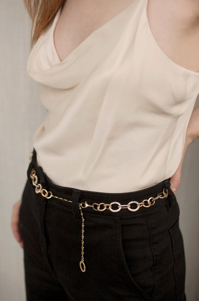 Crystal Link Belt in Clear & Gold