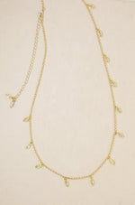 Crystal Droplet Thin Chain Gold Body Chain
