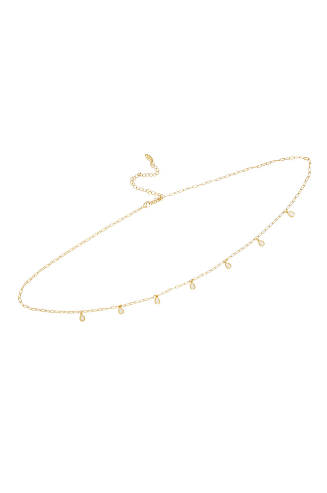 Delicate Crystal Droplet Gold Body Chain