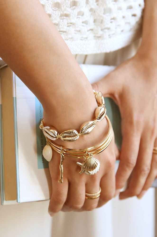 Beach Life 18k Gold Plated Bangle Set