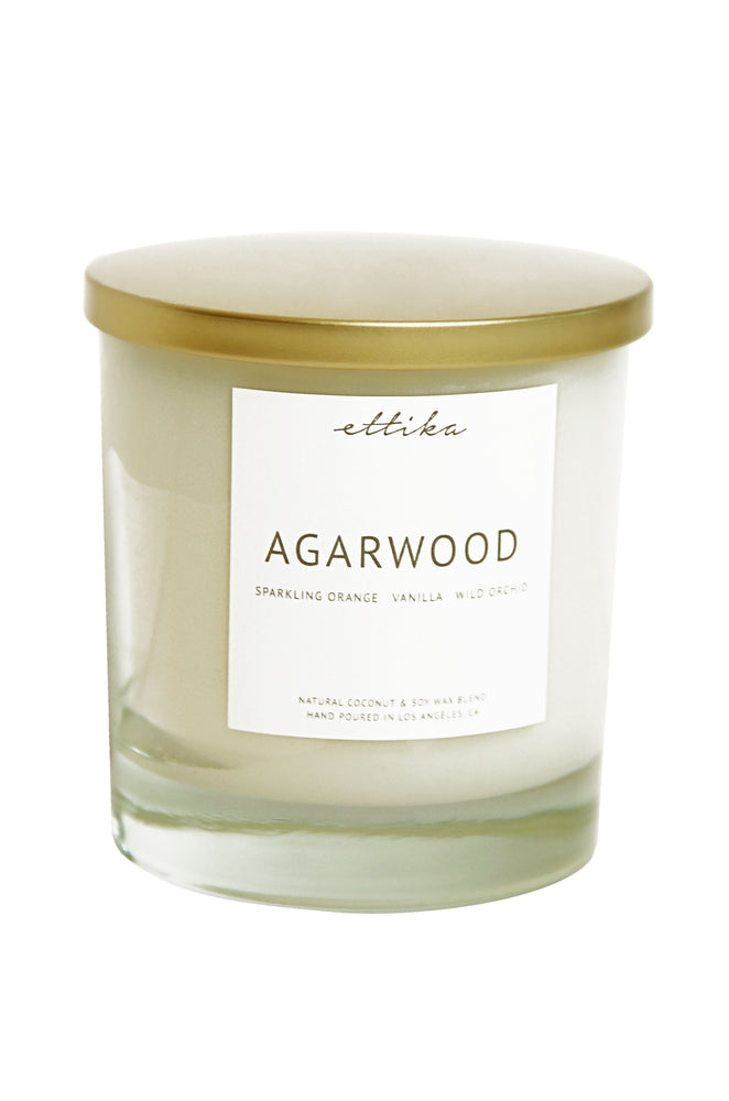 Agarwood 8oz Candle on white background