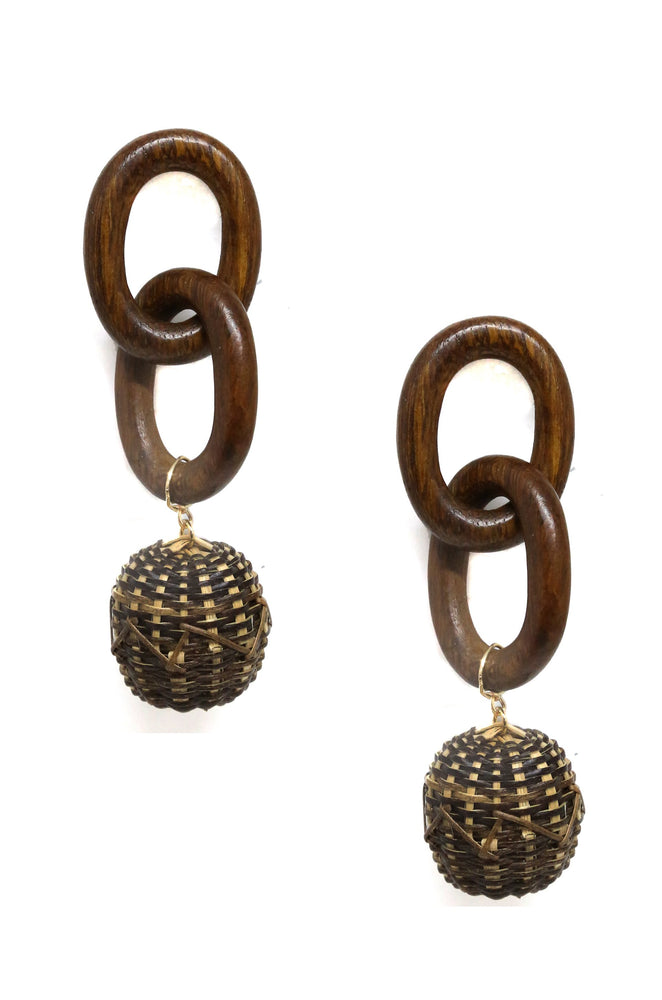 Nature Elements Earring in Wood Brown and Gold
