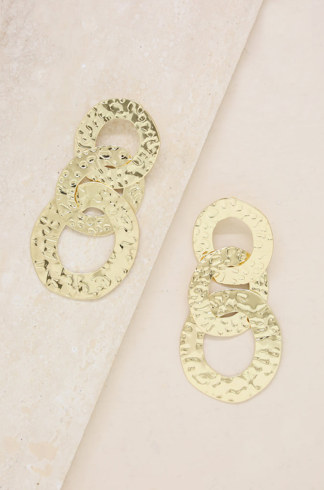 Interlocking Textured Circle Drop 18k Gold Plated Earrings