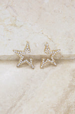 Star Light Crystal Statement Stud 18k Gold Plated Earrings