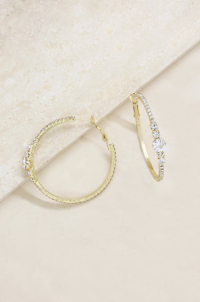 Hollywood Forever Crystal 18k Gold Plated Hoop Earrings
