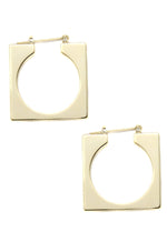 Squared Off 18k Gold Plated Hoop Earrings