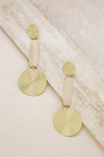 Gold and Cream Drop Earrings