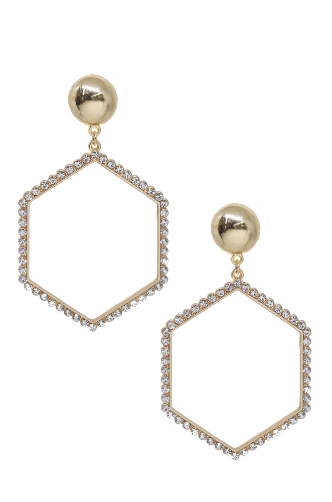 Crystal Hexagon 18k Gold Plated Drop Earrings
