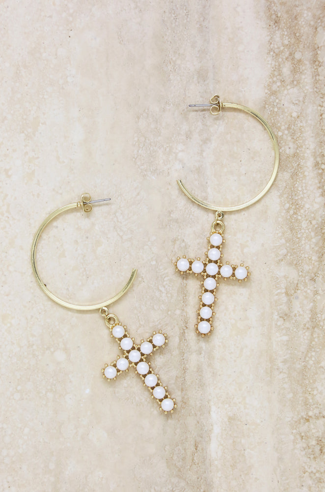 Cross Drop Hoop Earrings in Pearl and Gold