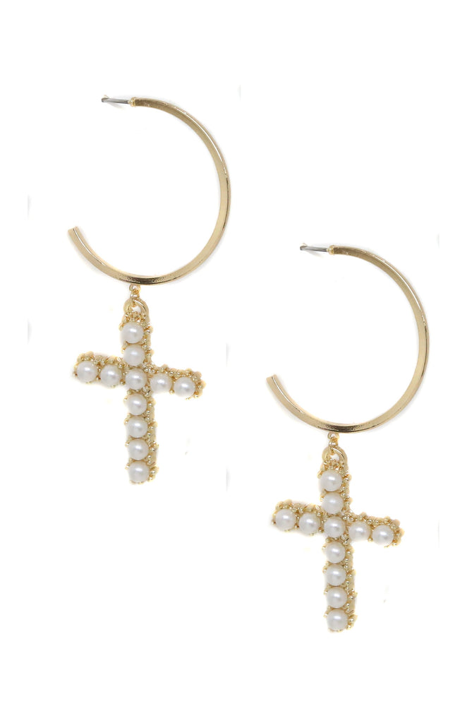 Pearl Cross 18k Gold Plated Hoop Earrings