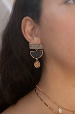 Grayscale Boho 18k Gold Plated Statement Earrings