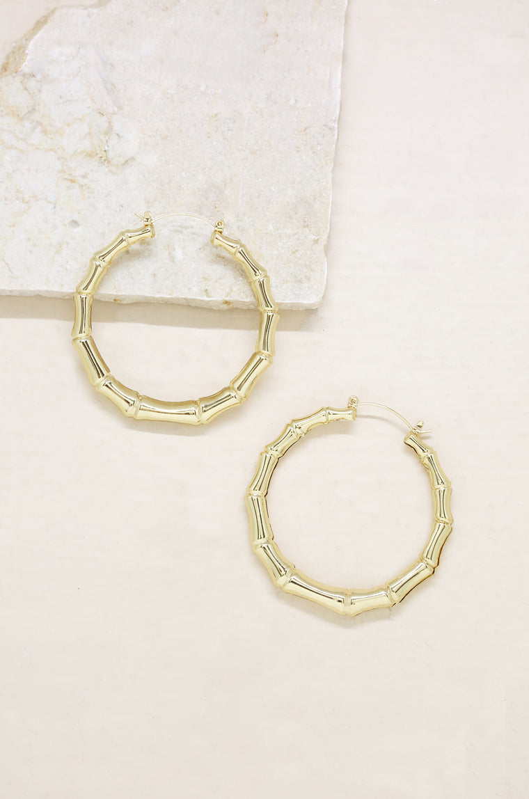 Bamboo 18kt Gold Plated Hoop Earrings