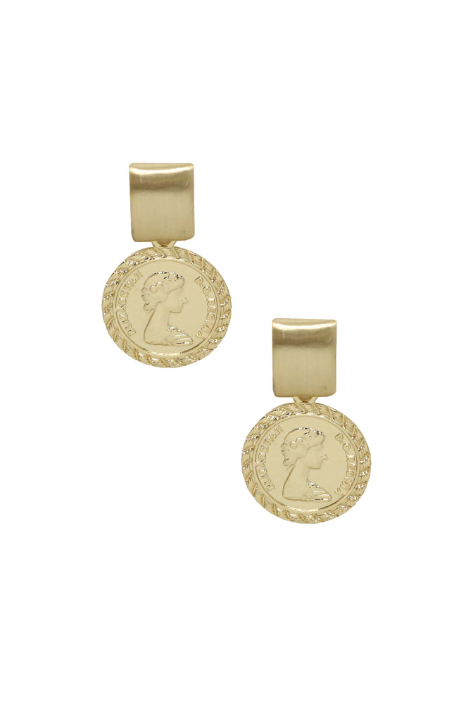 Mini Ancient Coin 18k Gold Plated Earrings