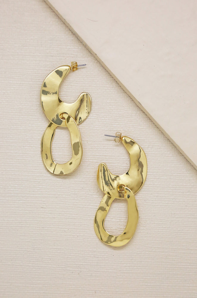 Knock Knock Abstract Double Ring 18k Gold Plated Hoop Earrings