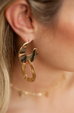 Knock Knock Abstract Double Ring Hoops in Gold