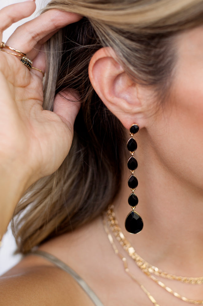 Black Crystallized Drop 18k Gold Plated Earrings