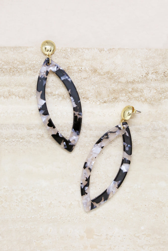 Large Resin Oval Drop Earrings in Black and White