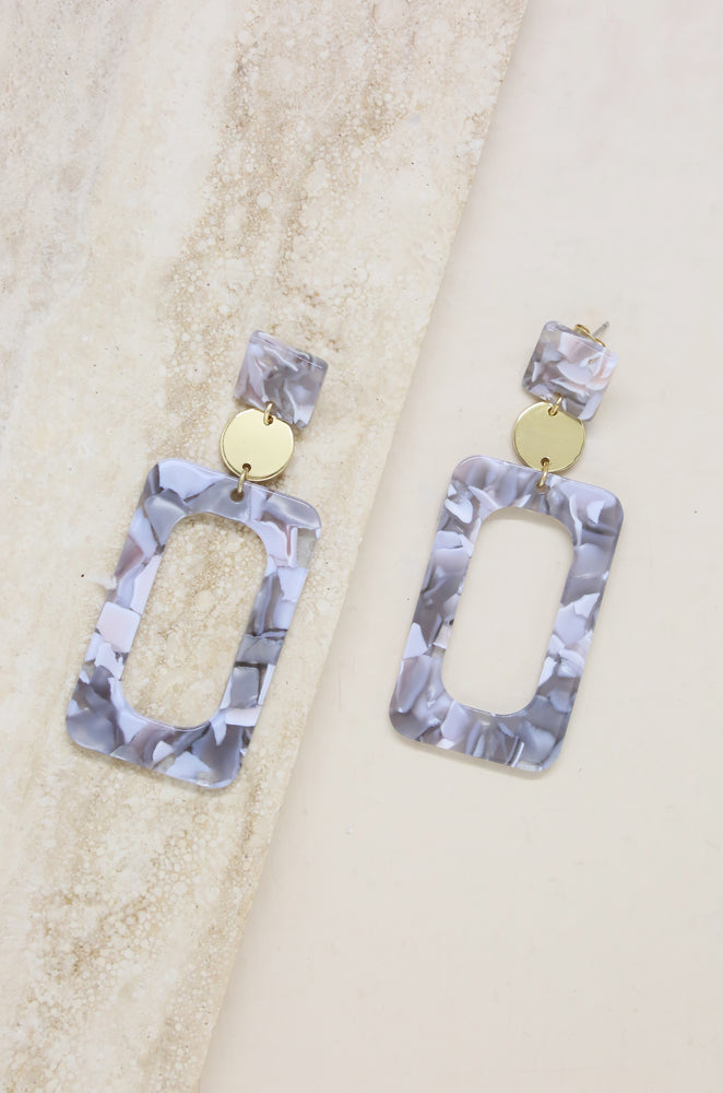 Aurora Grey & White Resin Rectangle 18k Gold Plated Earrings