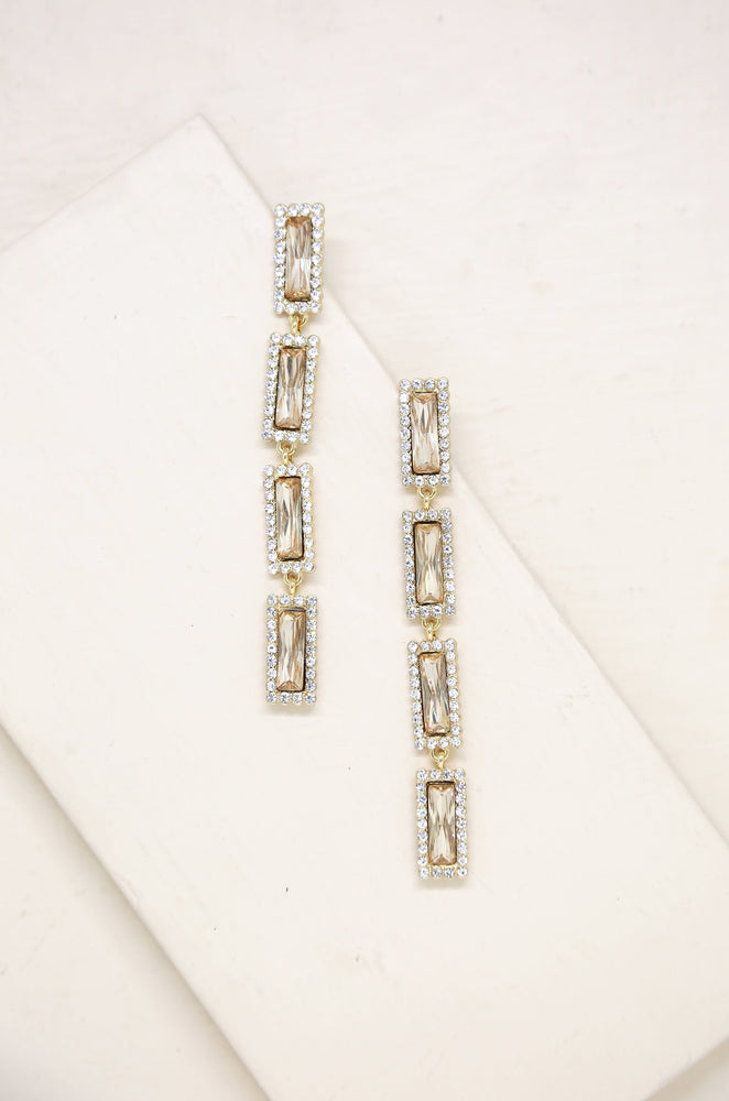 Drop Gem Earrings in Topaz Glass and Gold