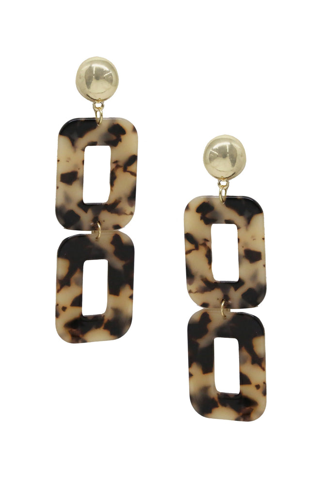 Double Square Tortoise Resin & 18kt Gold Plated Earrings