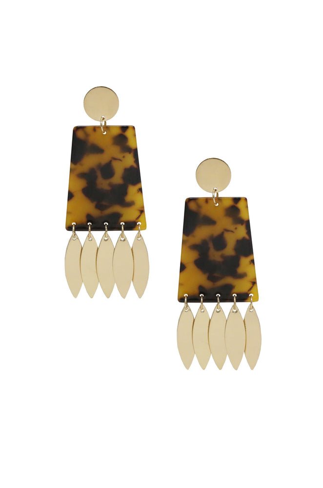 Cowbell Statement Earrings with Tortoise Resin and Gold Petal Charms