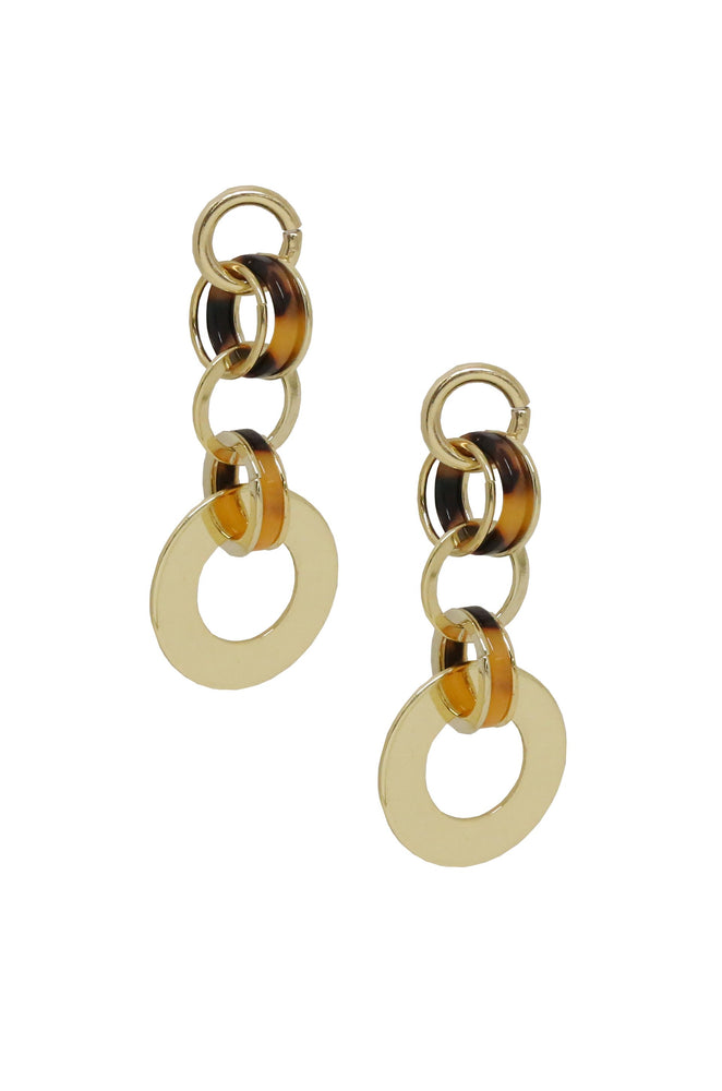 Willow Link Earrings in Tortoise Resin & Gold
