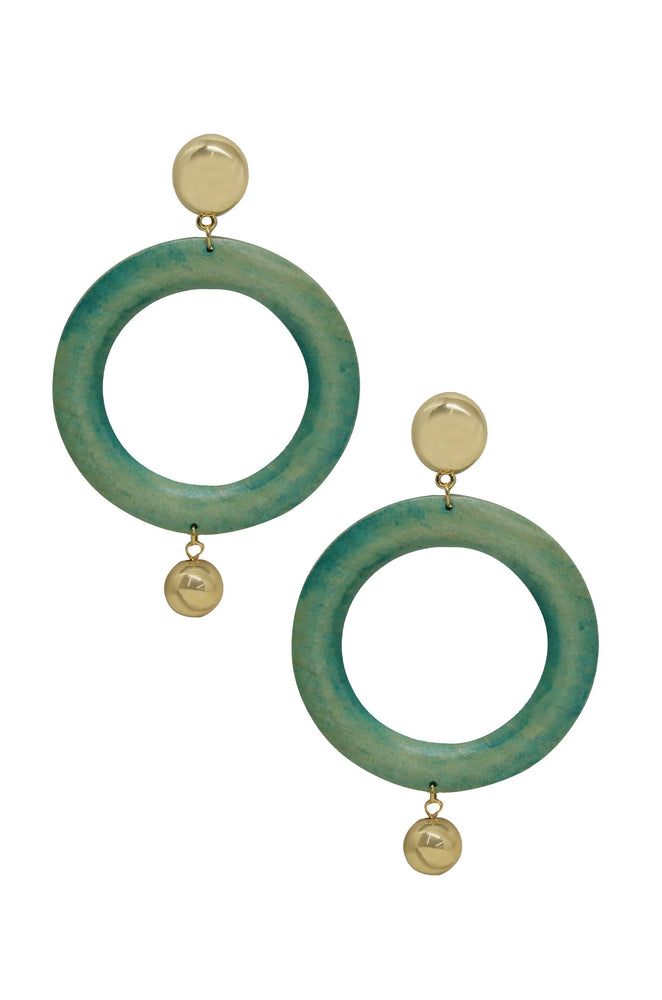 Au Naturale Teal Wood Hoop Earrings
