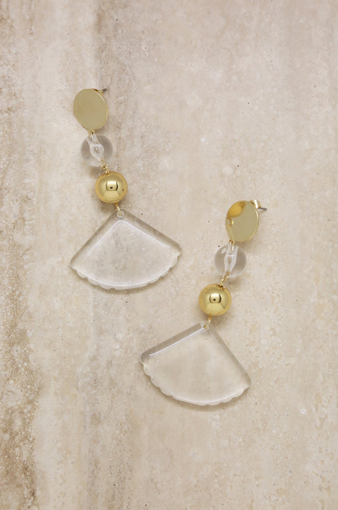 Clear Resin Drop Earrings in Gold